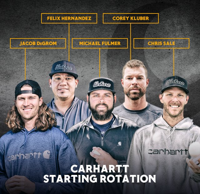 jacob degrom, corey kluber, felix hernandez, michael fulmer, chris sale.  carhartt starting rotation