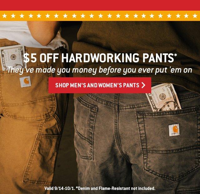 5 dollar off work pants